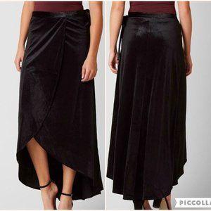 Daytrap Black Velvet Wrap Tie Skirt